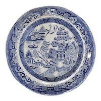 Set of Six Blue Willow Transferware Plates, circa 1830