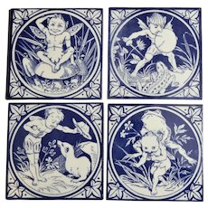 Set of Four Mintons Blue and White Transferware Tiles from the Elfin Series, circa 1885