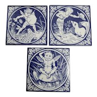 Set of Three Mintons Blue and White Transferware Tiles from the Elfin Series, circa 1885