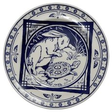 Minton Blue and White Transferware Plate in the Hare and Tortoise Pattern, circa 1880