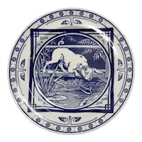 """Minton Blue and White Transferware Plate in the """"Dog and His Shadow"""" Pattern, circa 1880"""