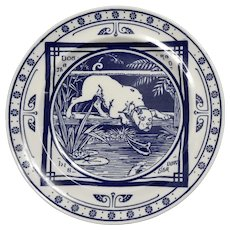 "Minton Blue and White Transferware Plate in the ""Dog and His Shadow"" Pattern, circa 1880"