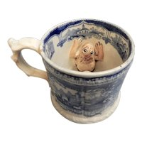 A Darling Blue and White Transferware Mug with a Surprise Inside, circa 1830