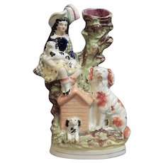 A Charming Staffordshire Figure of a Girl with Dogs Spill Vase, Circa 1870