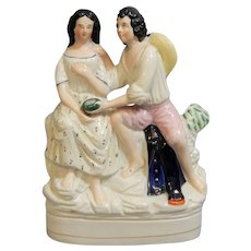Staffordshire Romantic Figural Group of Paul and Virginia, circa 1860.