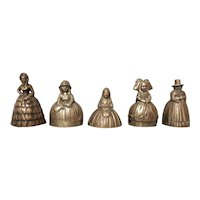 A Collection of Five Brass Lady Bells