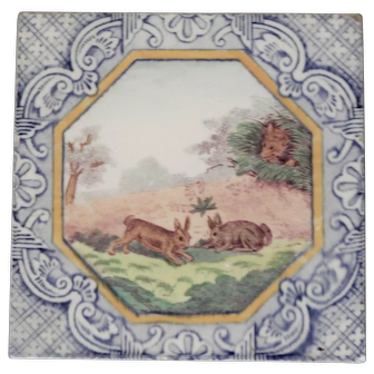 Minton Hollins Fox and Rabbits Tile with Dutch Border