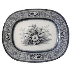 Large 19th Century Flow Blue Flora Pattern Platter by Cockson & Harding