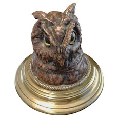 Antique Copper and Brass Owl Inkwell with Glass Eyes