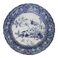Blue and White Doulton Transferware Charger with Rabbits Chased by a Dog