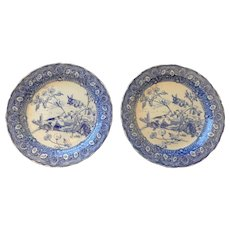 Pair of Doulton Blue and White Rabbit and Dog Transferware Chargers