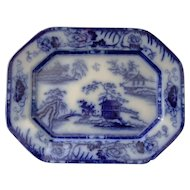 Flow Blue Ironstone Platter in the Hong Kong Pattern by Charles Meigh & Son