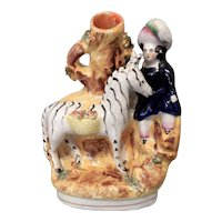 Antique Staffordshire Zebra and Child Spill Vase