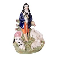 Large Antique Staffordshire Shepherd with Dog and Sheep