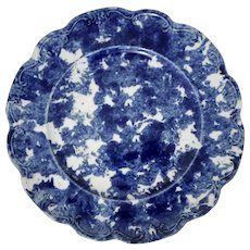 Blue and White Spongeware Dinner Plate