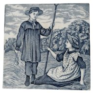 Wedgwood Blue and White Calendar Tile for the Month of June