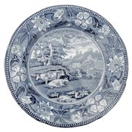 Blue and White Transferware Plate with Cows