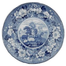 Blue and White Transferware Plate Titled DOMESTIC CATTLE