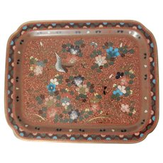 Japanese Cloisonne Tray with Goldstone Background