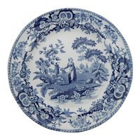 "Blue and White Transferware Plate ""Girl at the Well"""