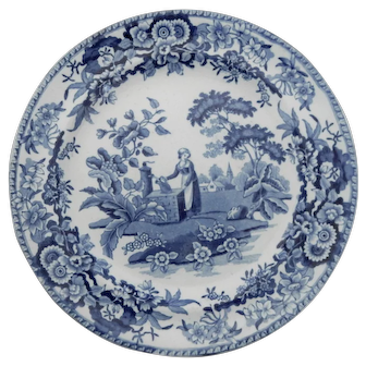 """Blue and White Transferware Plate """"Girl at the Well"""""""