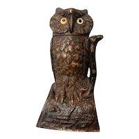 Mechanical Cast Iron Owl Bank by J & E Stevens