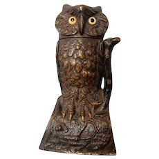 Mechanical Cast Iron Owl Bank by J & E Stevens