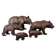 Five Hand Carved Wood Black Forest Bears