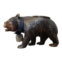 Black Forest Hand Carved Bear Ash Tray