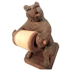 Hand Carved Black Forest Bear Spool Holder