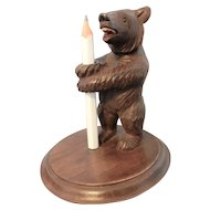 A Hand Carved Black Forest Bear Pencil Holder