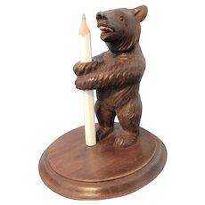 A Hand Carved Black Forest Bear Pencil Holder