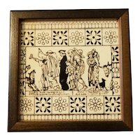 19th Century Brown and White Transferware Tile with Nursery Rhyme