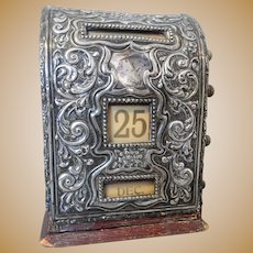 English Sterling Silver Repousse Calendar