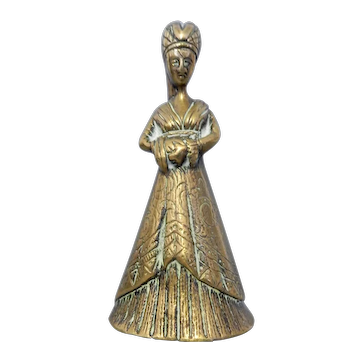 An Unusual Brass Lady Bell with Feet Clappers