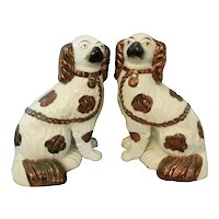 A Pair of Staffordshire King Charles Spaniels with Copper Luster Decoration, 19th Century