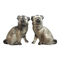 A Handsome Pair of English Staffordshire Pug Dogs, Circa 1890