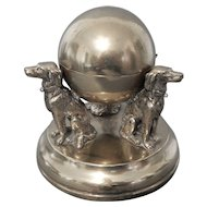 English Brass Inkwell Supported by Three Dogs on Brass Base