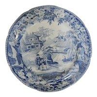 "Blue and White Davenport Transferware ""High Bridge"" Pattern Chinoiserie Plate, circa 1810"