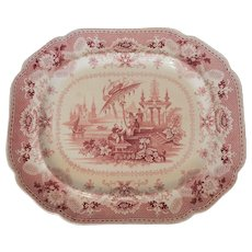 Large Red and White Transferware Platter in the Oriental Pattern