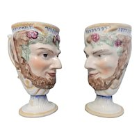 A Pair of Pratt Ware Satyr Wine Cups/Mugs with a Surprise Inside, Circa 1800