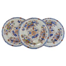 Set of Three Hand Colored Spode Stone China Transferware Plates, 1820