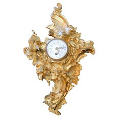 Diminutive French Gilt Bronze Rococo Cartel Clock