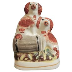 Miniature Staffordshire Figure of Two King Charles Spaniels with a Barrel, circa 1870