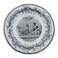 French Black and White Transferware Plate from the THEATRE DES MARIONNETTES  Series