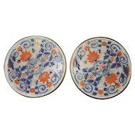 Pair of Bohemian Hand Decorated Imari Colored Flow Blue Wine Bottle or Decanter Coasters
