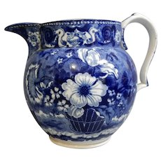 Blue and White Pearlware Transferware Jug with Floral Pattern, circa 1830