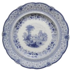 A Lovely Ridgway Blue and White Transferware Plate in the Grecian Pattern, circa 1830