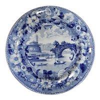 Blue and White Staffordshire Transferware Plate, Ponte Rotto Pattern, circa 1825