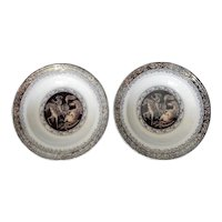 A Pair of Mulberry and Brown Transferware Soup Plates in the Vaquero Pattern